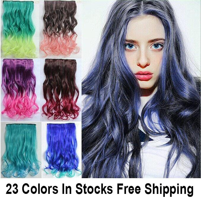 22120g 5 Curly Clips In Synthetic Hair Extension Two Tone Colors ...