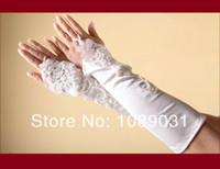 elfenbein kleid handschuhe großhandel-Brauen neue Ankunfts-Handschuhe mit Spitze Appliqued Mode Fingerless Weiß / Elfenbein Brautkleid elegante Hochzeit Zubehör