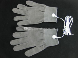 Wholesale Tens Sex Machine - BDSM Electric Shock Therapy Electrode Gloves for Tens EMS Machine Electro Shock Electricity Conductive Gloves Adult Games Sex Products