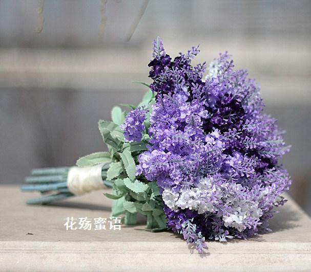 wedding bouquet purple light purple artificial made flower wedding bridal 8481