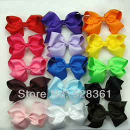 Wholesale Cheap Hair Bow - 20pc Wholesale Cheap Low Price Hair Bows Big 10cm Boutique Girl Baby Alligator Clip Large Grosgrain Ribbon Bows