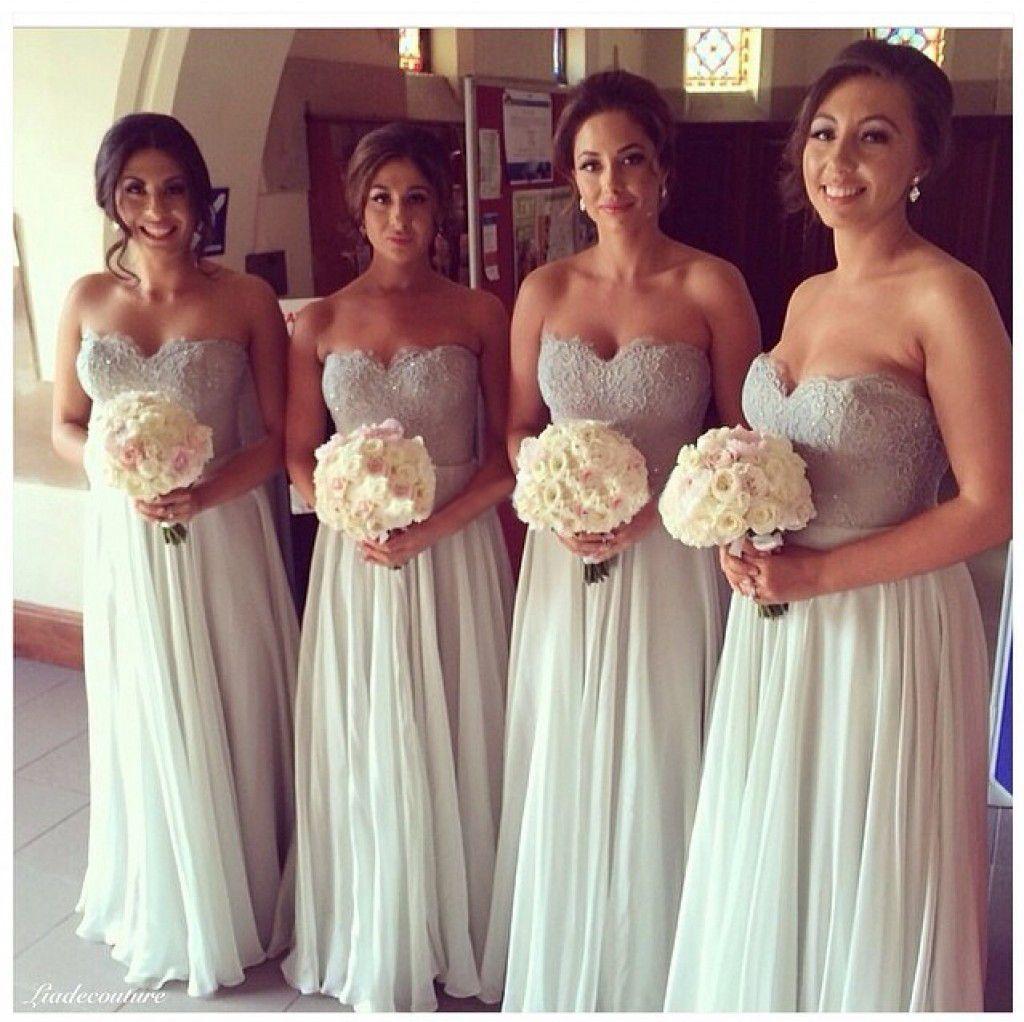 Neue Ankunft Eine Linie Chiffon Brautjungfernkleider Moderne Schatz Spitze Lange Mode Formale Elegante Strand Hochzeit Prom Abendkleider W5016