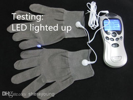 Wholesale Silver Sex - Slave Trainer BDSM Electric Shock Silver Fiber Therapy Gloves Bondage Gear Electro Shock Gloves Adult Games Sex Products Toys Fo