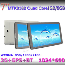 Wholesale Smartphone Phone Inch Bluetooth - 7 inch 3G Tablet PC 1gb 8gb GPS Bluetooth MTK8382 Quad Core dual sim 1.3Ghz android 4.2 Smartphone Dual Sim 1024*600 Capacitive phablet hot