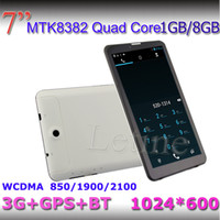 Wholesale Smartphone Phone Inch Bluetooth - NEW 7 inch 3G Tablet PC 1gb 8gb GPS Bluetooth MTK8382 Quad Core dual sim 1.3Ghz android 4.2 Smartphone Dual Sim 1024*600 Capacitive phablet