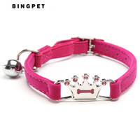 Wholesale Enamel Bell Charms - Free Shipping Bling Crown Bone Enamel Pet Cat Collar with Safety Elastic Belt & Bell 4 Colors Assorted