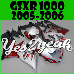 Wholesale Gsxr Plastics - Yes2yeah Aftermarket Injection Mold Fairing For Suzuki GSXR1000 GSX-R 1000 GSXR 1000 2005 2006 05 06 K5 Red Silver S15Y55+5 Free Gifts