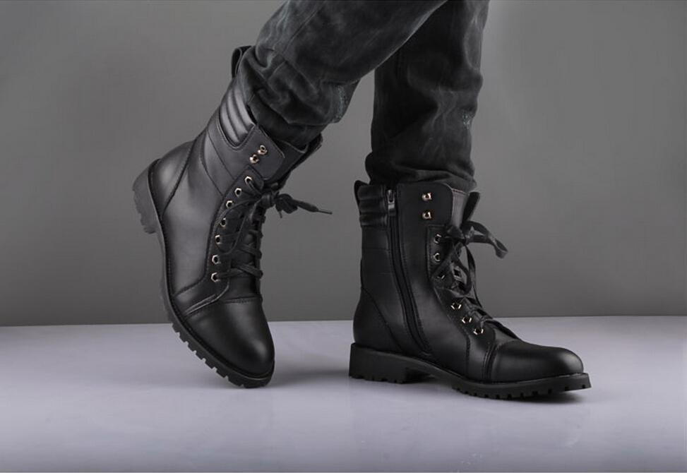Fashion Men'S Winter Mid Calf Boots,Black Punk Leather Side Zipper ...