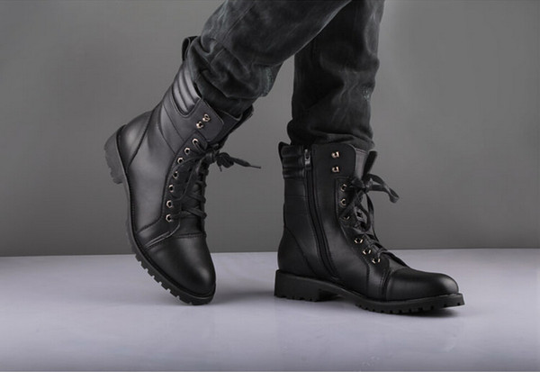 3f4fdc1c532 Fashion Men'S Winter Mid Calf Boots,Black Punk Leather Side Zipper Lace Up  Shoes,Martin Cowboy Combat Army Boots,US Size 6.5 10 Knee High Boots Riding  ...
