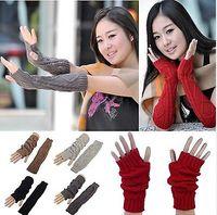 Wholesale Long Black Gloves Girls - Good Quality Fashion Stylish Girls Winter Warm Long Knit Wrist Fingerless Gloves Mitten Wrist Arm Hand Warmer[CA02001*2]