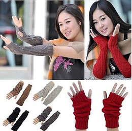 Wholesale Girls Fingerless Gloves Black - Good Quality Fashion Stylish Girls Winter Warm Long Knit Wrist Fingerless Gloves Mitten Wrist Arm Hand Warmer[CA02001*2]