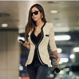 Wholesale Korean Girl S Clothing - 2017 New Autumn Winter Suit Fashion Women Suit Coat Jacket Slim OL Work Suit Casual Korean Ladies Girls Clothing Blazers Outerwear W6