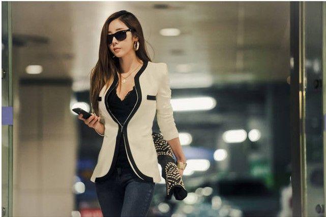 2018 nuovo vestito cappotti moda donne vestito giacca giacca vestidos casual vestiti da lavoro casual coreano signore bianche vestito nero Blazer S-XL W6