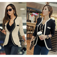 Wholesale Suit Blazer Korean - 2017 New Suit Coats Fashion Women Suit Coat Jacket Vestidos Casual OL Work Clothes Casual Korean Ladies White Black Suit Blazers S-XL W6