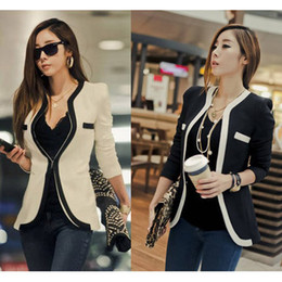 Wholesale Work Jacket Korean - 2016 Autumn Winter Suit Coats Jacket Fashion Women Suit Coat Jacket Slim OL Work Suit Casual Korean Ladies White Black Suit Blazers W6