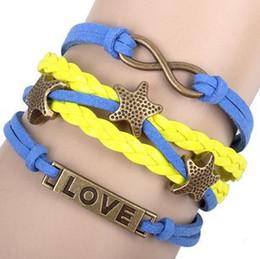 Wholesale Small Braided Leather Bracelets - NEW HOT Infinity BraceletsLove Small starfish love Girl Braided Brown cord Leather Bracelets,Best Chosen Gift