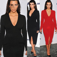 Wholesale Kim Kardashian V Neck Dress - Sexy Midi bodycon dress 2014 Black Red Purple Knee Length Front Slit Celebrity Dress Kim Kardashian Dress fitted pencil dresses DK3010CL