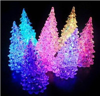 Wholesale Christmas Tree Night Lights - Newest 7 colors Changing Christmas Decorate Crystal Tree LED Light Festive Night bright Lights for Christmas Xmas Battery Include