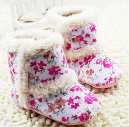 Wholesale Toddler Floral Boots - Autumn Winter Baby Girl Princess Boots Flower Floral Toddler First Walker Shoes Infant Boots 0-24M Newborn Shoes 11-12-13 6Pair lot GX904