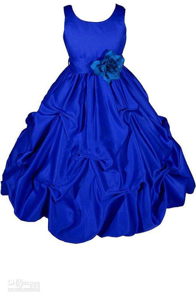 Flower Girl Dresses Real Pictures Ball Gown Jewel Hand Made Flowers Royal Blue Girls Puffy Satin Long Pary/Prom Dresses Online Shopping