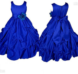 Barato Vestido De Baile Para Meninas Online-Flower Girl Dresses Real Pictures Ball Gown Jewel Madeiras feitas à mão Royal Blue Girls Puffy Satin Long Pary / Prom Dresses Online Shopping