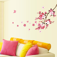 Wholesale Peach Flower Wallpaper - Beautiful Peach Blossom Flowers Removable Wall Sticke Art Decals Vinyl Stickers Decorative Wallpaper Mural Decal DIY Home Decoration H11567