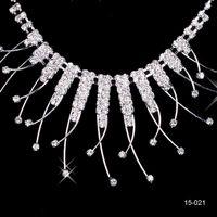 Wholesale Unique Jewelry Sets - 15021 Unique Wedding Bridal Bridesmaids Rhinestone Necklace Earrings Jewelry Set Prom