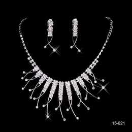 Wholesale Cheap Piercings - Cheap 15021 Sparkly Beaded Bridal Jewelry With Earring Holy Rhinestone Crystal Flower Earring Necklace Set Bridal Party Wedding Occasion