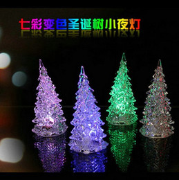 Wholesale Solid Acrylic Ornaments - LED Christmas crystal tree night lamp 7 Colors 2015 New Items Cool Christmas Halloween Tree Ornament Acrylic Colorful Free shipping 10pcs