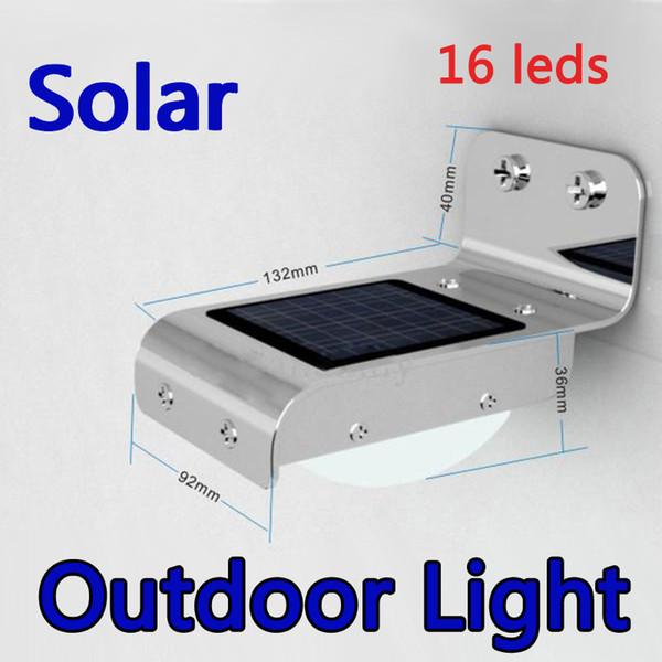 LED Solar Lamp Outdoor Wall Light Ray Sound Sensor Body sensor 16 LEDs Cool White Waterproof path garden yard light