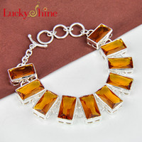 Wholesale Citrine Beads European - Luckyshine Hot sell fashion 925 sterling silver plated Best Seller rectangle brazil citrine gemstone bracelets for lady party gift B0015