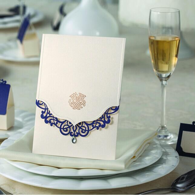 Blue Elegant Laser Cut Wedding Invitations 2014 Invitation Cards With Free Shipping Convites De Casamento
