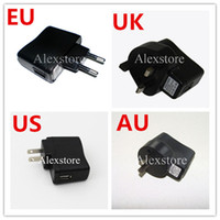Wholesale Wholesale E Cigarettes Uk - UK AU US AU wall charger black e cig charge ego plug adapter for usb cable line ego battery ecig electronic cigarette kit High Quality DHL