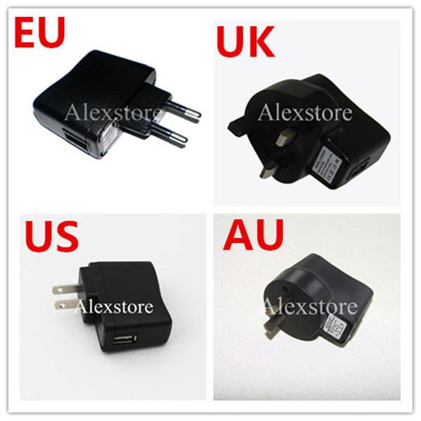 UK AU US AU wall charger black e cig charge ego plug adapter for usb cable line ego battery ecig electronic cigarette kit High Quality DHL