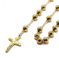 Wholesale Solid Gold Rosaries - 4mm 6mm 8mm Gold Solid Bead Stainless steel JESUS Cross Rosary Necklace Fashion