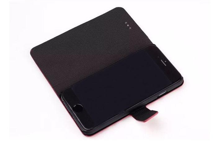 Caso caja de cuero de lujo rayas de la manera con la cubierta del sostenedor de la tarjeta inteligente soporte para el iPhone 6 más 4,7 5,5 pulgadas