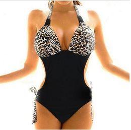 Wholesale Xxl Monokini - Hot Sale Sexy Women Plus Size One Piece Monokini Leopard Bikini Sets Back Tied Halter Swimwear Swimsuit Bathing Suit Plus size S M L XL XXL