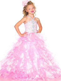 Wholesale Dressy Dress Size 12 - Pretty Pink Tulle Straps Beads Flower Girl Dresses Girls' Pageant Dresses Dressy Dress Holidays Dress Custom Size 2 4 6 8 10 12 FF801002