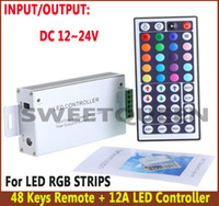 12v cmos Canada manufacturers - LED Infrared Aluminum Shell Controller 44keys 12V 12A 24A 3 CMOS Drain -Open Out Put controller for led strips light