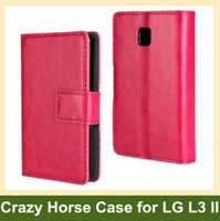 Wholesale Cases For L3 Ii - Wholesale Multicolor Crazy Horse Pattern PU Leather Folding Wallet Flip Cover Case for LG Optimus L3 II E430 E435 Free Shipping