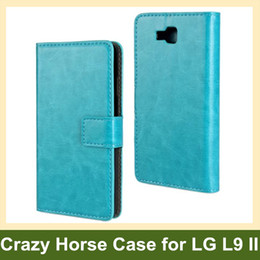 Wholesale L9 Casing - Wholesale Colorful Crazy Horse Pattern PU Leather Folding Wallet Flip Cover Case for LG Optimus L9 II Free Shipping