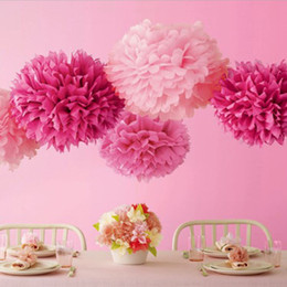 Wholesale Tissue Balls Wholesale - Colorful Paper Poms 26 Colors 4-18 inch Tissue Paper Pom Blooming Flower Balls Wedding Party Baptism Decoration Xmas Home Deco Decorative