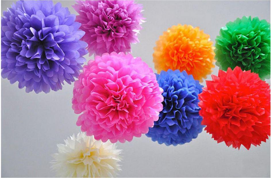 다채로운 종이 Poms 26 색상 4-18 인치 티슈 종이 Pom 피는 꽃 공 결혼식 파티 세례 장식 Xmas 홈 데코 장식