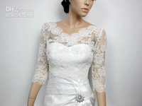 Wholesale Lace Long Sleeve Wedding Jackets - 2015 New Custom Made V-Neck 3 4 Long Sleeve Lace Wedding Bridal Jackets Exquisite Bridal Accessories Jacket Wraps High Quality White Ivory
