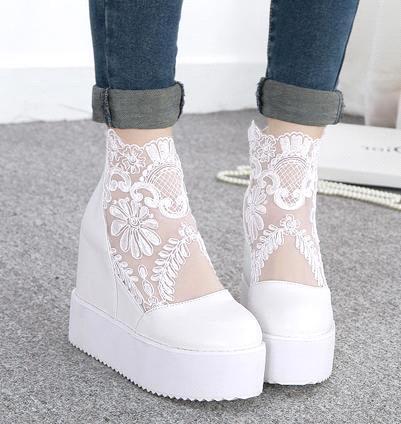 4938aaa5251efc Acheter Nouvel Argent Blanc Dentelle Chaussures De Mariage Plate Forme Talons  Compensés De Mode Femmes Talons Hauts Fermé Toe Automne Printemps Chaussures  ...