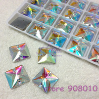 Wholesale 72pcs mm Glass Clear AB Square Sew on Crystal Rhinestones Flatback holes x10mm sewing crystals