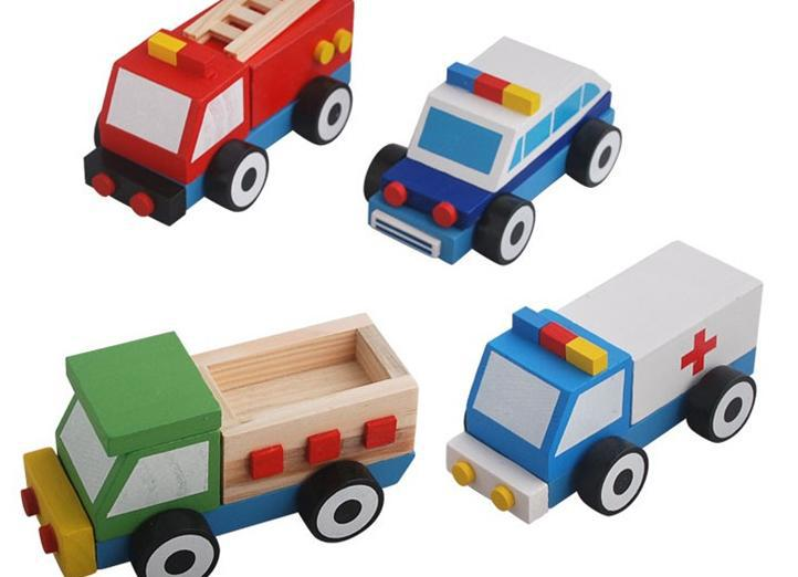 Wooden Toy Cars And Trucks : Wooden ambulance police car fire truck learning