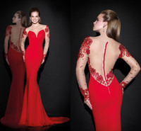 Wholesale 2015 Evening Dresses Mermaid Crew Red Satin Beads Appliques Sheer Neck Back Long Sleeves Sweep Train Prom Gown