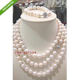 """Wholesale Earrings South Sea Pearl Necklaces - AAA 36""""9-10mm REAL south sea white pearl SETS necklace+ bracelet+ earring"""