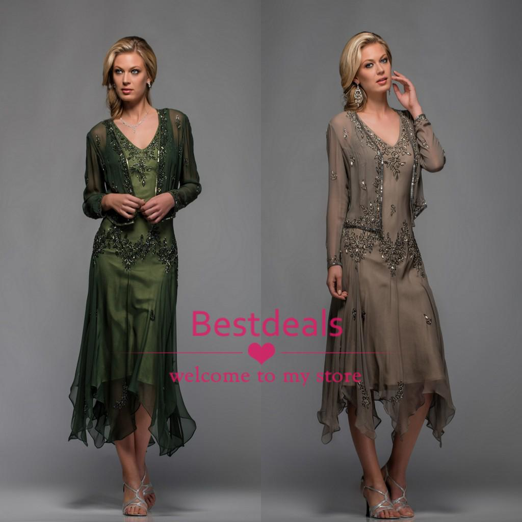 c2c1f2e3dff 2018 Scala Tea Length Mother Of The Bride Dresses With Appliques And Beaded  V Neck A Line Evening Dresses With Free Bolero 25397 Mother Of The Bride  Dresses ...